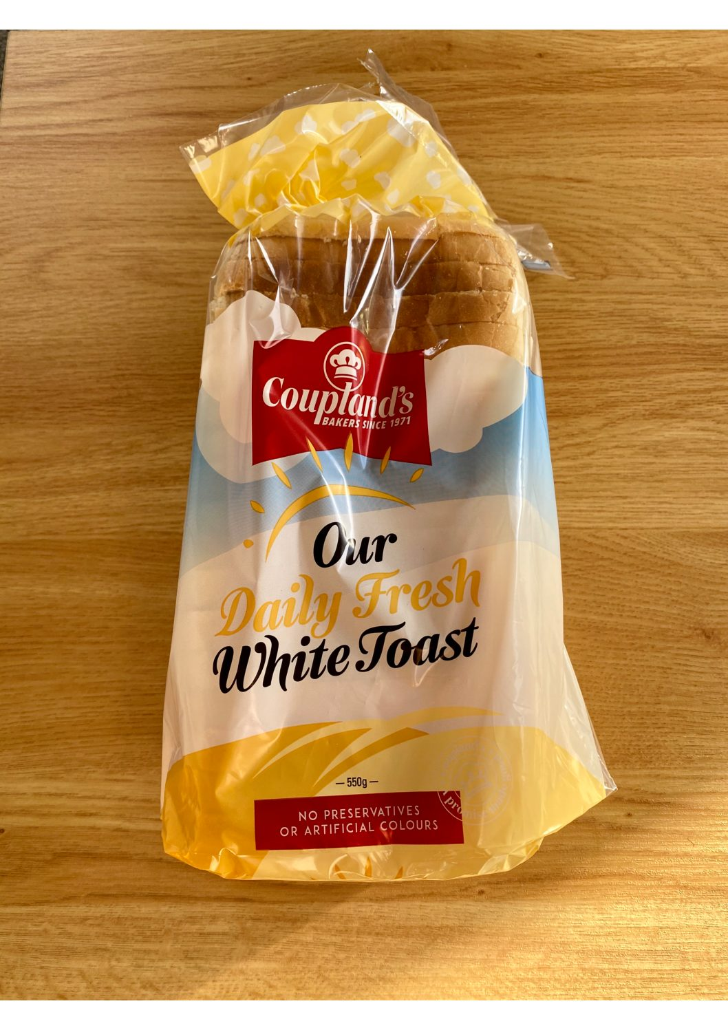 Couplands Our Daily Fresh White Toast Bread 550g